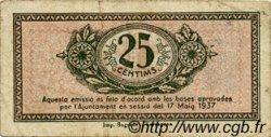 25 Centims ESPAGNE Tarragona 1937 C.585 TB à TTB