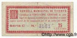 25 Centims ESPAGNE Tivenys 1937 C.--(595) TTB