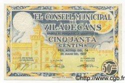 50 Centims ESPAGNE Viladecans 1937 C.651 SPL