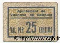 25 Centims ESPAGNE Vilanova De Bellpuig 1936 C.666a TTB
