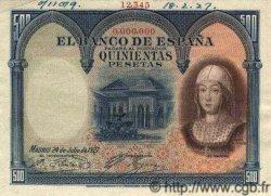 500 Pesetas ESPAGNE  1927 P.073as SPL