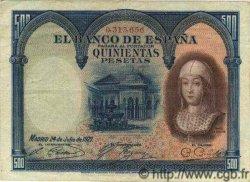 500 Pesetas ESPAGNE  1927 P.073a TTB+