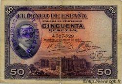 50 Pesetas ESPAGNE  1931 P.080 TB