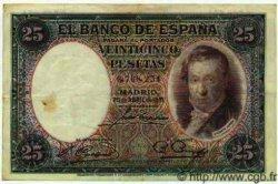 25 Pesetas ESPAGNE  1931 P.081 TTB