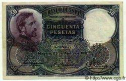50 Pesetas ESPAGNE  1931 P.082 SUP+