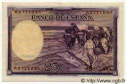 25 Pesetas ESPAGNE  1936 P.087b NEUF