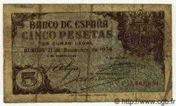 5 Pesetas ESPAGNE  1936 P.097 pr.TB