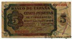 5 Pesetas ESPAGNE  1938 P.110a TTB