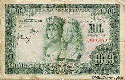1000 Pesetas ESPAGNE  1957 P.149a B+