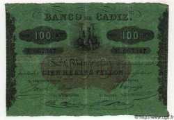 100 Reales De Vellon ESPAGNE Cadiz 1863 PS.291 TB à TTB