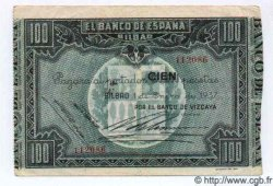 100 Pesetas ESPAGNE Bilbao 1937 PS.565(f) TTB