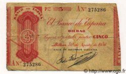 5 Pesetas ESPAGNE Bilbao 1936 PS.551b(h) TB+