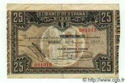 25 Pesetas ESPAGNE Bilbao 1937 PS.563(g) TB+