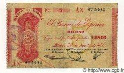 5 Pesetas ESPAGNE Bilbao 1936 PS.551b(i) TB+