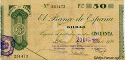 50 Pesetas ESPAGNE  1936 PS.553(i) TTB