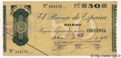 50 Pesetas ESPAGNE Bilbao 1937 PS.553i TTB+