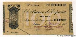 100 Pesetas ESPAGNE Bilbao 1937 PS.554h pr.TTB