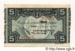 5 Pesetas ESPAGNE Bilbao 1937 PS.561(h) SUP+