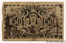 50 Pesetas ESPAGNE Santander 1936 PS.584(f) B+
