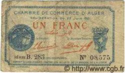 1 Franc ALGÉRIE Alger 1921 JP.17 B à TB