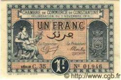 1 Franc ALGÉRIE Constantine 1919 JP.16 NEUF
