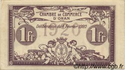 1 Franc ORAN ALGÉRIE  1920 JP.141.23 SUP+