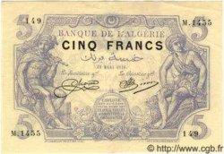 5 Francs ALGÉRIE  1918 P.002 SUP+
