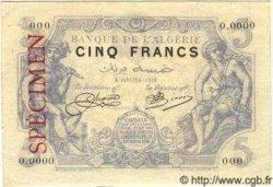 5 Francs ALGÉRIE  1919 P.002s SPL