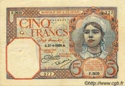5 Francs ALGÉRIE  1928 P.003 TTB