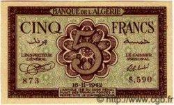 5 Francs ALGÉRIE  1942 P.091 NEUF