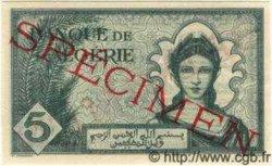5 Francs ALGÉRIE  1942 P.091s NEUF