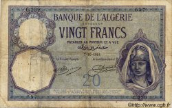 20 Francs ALGÉRIE  1914 P.078a B+