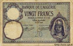 20 Francs ALGÉRIE  1920 P.078a B+ à TB