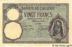 20 Francs ALGÉRIE  1924 P.009 SPL