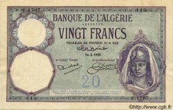 20 Francs ALGÉRIE  1925 P.078b TTB+
