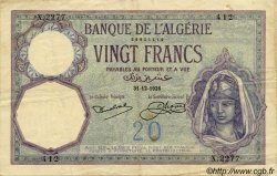 20 Francs ALGÉRIE  1926 P.078b TTB