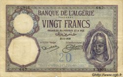 20 Francs ALGÉRIE  1929 P.009 pr.TB