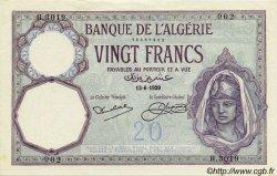 20 Francs ALGÉRIE  1929 P.078b SPL