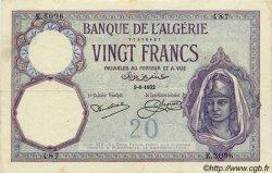 20 Francs ALGÉRIE  1932 P.009 TB