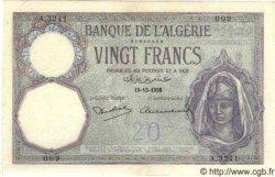 20 Francs ALGÉRIE  1938 P.009