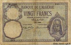 20 Francs ALGÉRIE  1939 P.078c B+ à TB