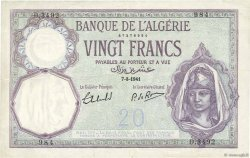 20 Francs ALGÉRIE  1941 P.078c TTB+