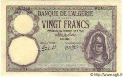 20 Francs ALGÉRIE  1941 P.009 SUP+