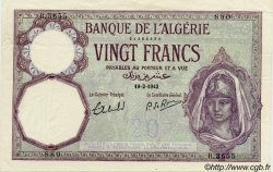20 Francs type 1912 ALGÉRIE  1942 P.078c pr.SUP