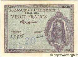 20 Francs ALGÉRIE  1943 P.010 pr.SPL
