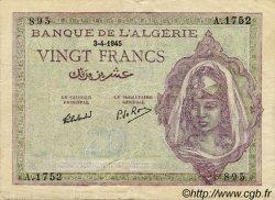 20 Francs ALGÉRIE  1945 P.011 TTB