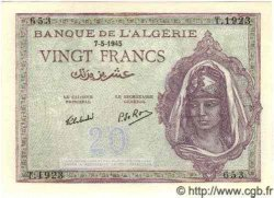 20 Francs ALGÉRIE  1945 P.011 NEUF