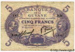 5 Francs Cabasson bleu GUYANE  1938 P.01b pr.TTB
