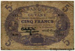 5 Francs Cabasson bleu GUYANE  1942 P.01d TB
