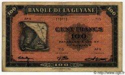 100 Francs GUYANE  1942 P.13 TTB